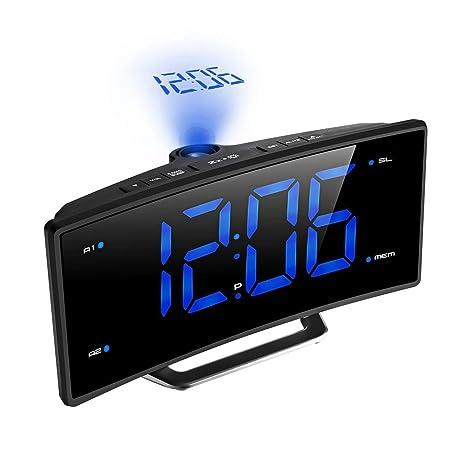 MUTANG Reloj Despertador de proyección Reloj Digital con Puerto de Carga USB y Radio FM,