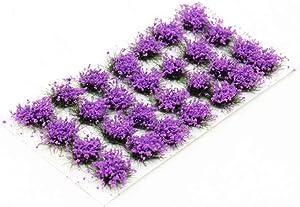 28 Pcs Purple Flower Cluster Flower Vegetation Groups Grass Tufts Static Scenery Model DIY Miniature for Train Landscape Railroad Scenery Sand Military Layout Model Wargaming Terrain