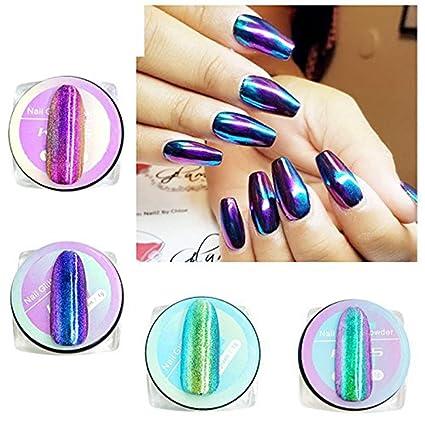 Esmalte De Uñas En Polvo Kads Con Efecto Espejo Brillante 4 Esmaltes De 1 G Cada Una Con Pigmentos De Neón Unicornio Holográfico Aurora Sirena