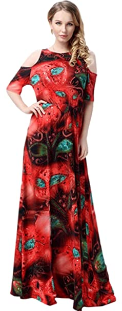 b37fd94f727 Unomatch Women Long Length Plus Size Round Neck Maxi Dress Red ...
