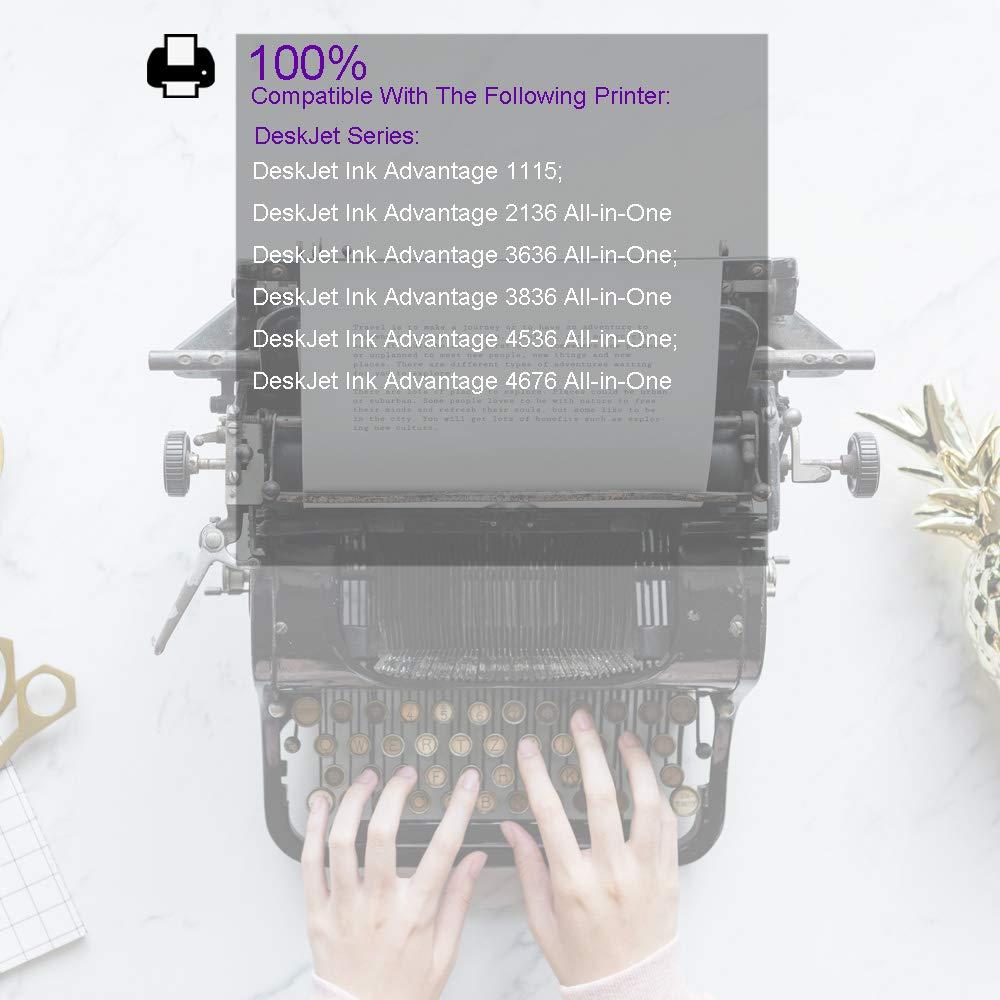 Tyjtyrjty 2 x 1 Black/1 Tri-Color Compatible for Ink Cartridge 664 XL for hp 664 Cartridge for HP DeskJet 1115 2135 3635 1118 2138 3636 3638 4536 4676 ...
