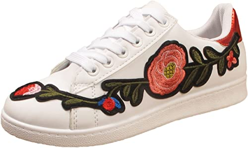 Ladies Trainers Flat Embroidered Flower