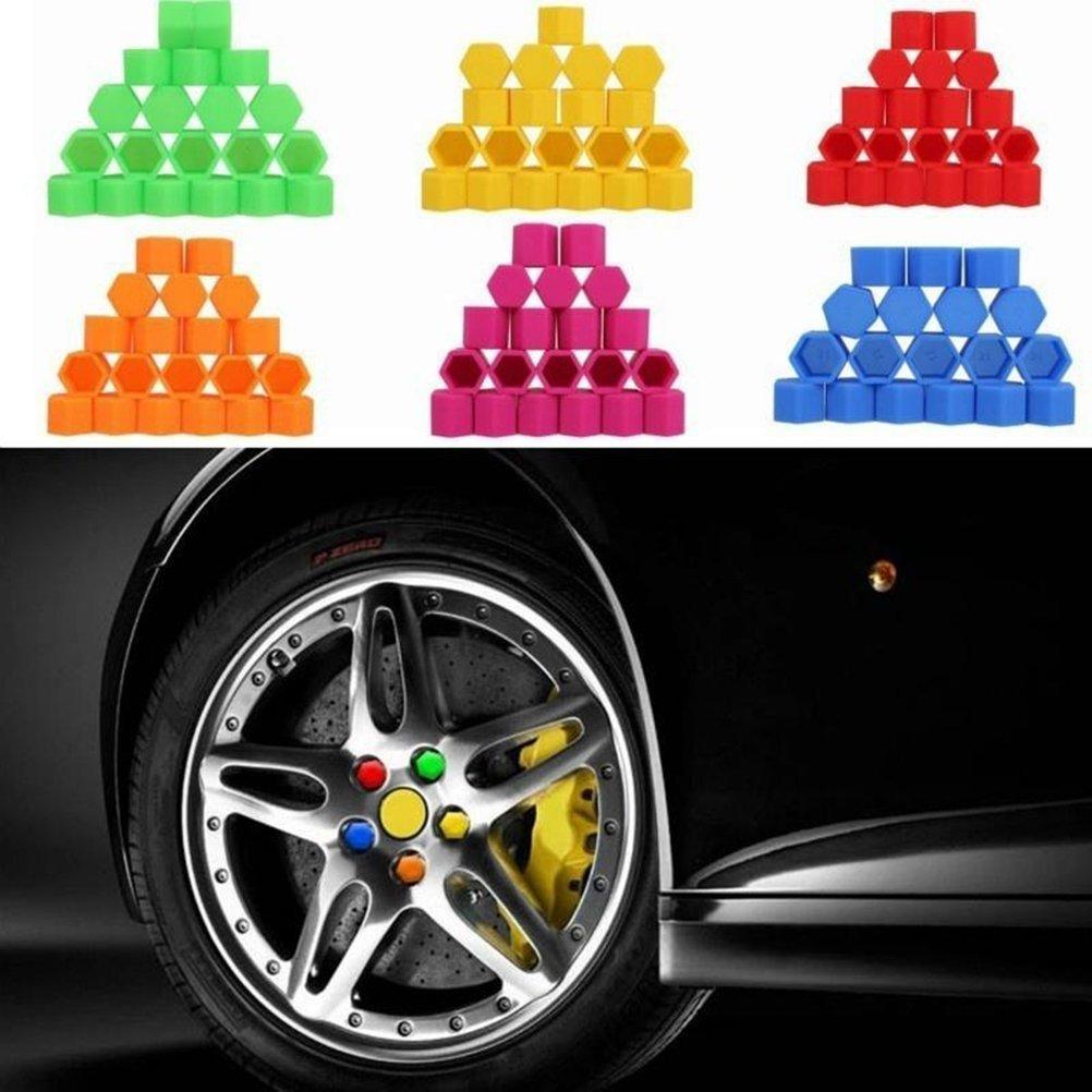 Hamimelon Universal 17mm Blue Hexagonal Car Wheel Nut Cap Set of 20Pcs Plastic Bolt Head Covers Protectors