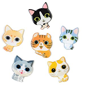 6-Pack Fridge Magnets for Kids Adults Refrigerator Magnets Cute Cats Ornament Funny Decor for Kitchen Office Classroom Whiteboard Lockers, Magnet Set Ideal Gift by Morcart (6pcs-Cat)