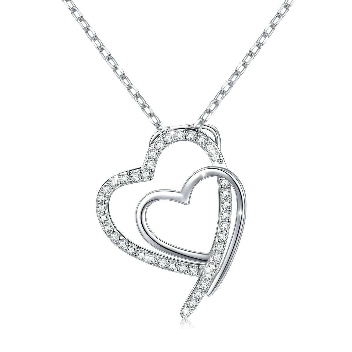 925 Sterling Silver White Cubic Zirconia Infinity Love Heart Necklace Gift for Women Girls,18 inch