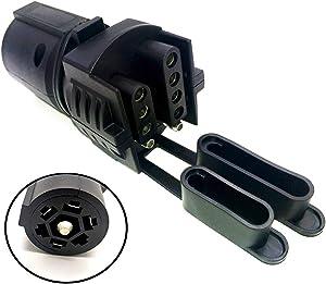 Super repairman 7 Pin Round to 4 Pin 5 Pin Flat Blade Trailer RV Boat Adapter Plug