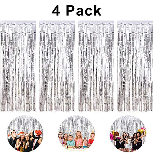 pozzolanas 4 Pack Foil Fringe Curtain Metallic Tinsel Fringe Curtains Shimmer Party Photo Backdrop Curtains for Birthday, Christmas, New Years, Weddings Party Decorations(Silver)]()