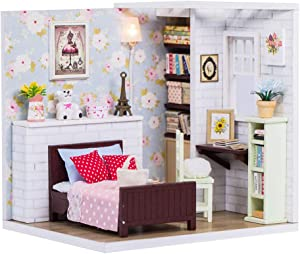 Spilay DIY Miniature Dollhouse Wooden Furniture Kit,Handmade Mini Modern Model Plus with Dust Cover & Music Box ,1:24 Scale Creative Doll House Toys for Children Girl Lover Gift (Dolly Pavilion)