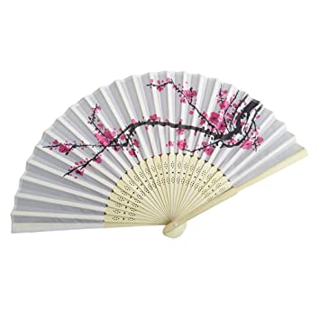Geschenke Beige Folding Bambus Fans Hand Halten Fans chinesischer Seiden Handf/ächer f/ür Wanddekoration Damen Handf/ächer Hochzeitsfeie