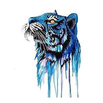 0ee9fb0b589fc Amazon.com : WYUEN 5 Sheets Watercolor Tiger Temporary Tattoo Sticker Fake  Waterproof Tattoo For Women Men Body Art 9.8X6cm (FA-083) : Beauty