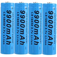 4 stuks 18650 oplaadbare lithium-ion batterijen, 18650 oplaadbare batterijen, 9900 mAh, 3,7 V, ICR, lithium-knoop…