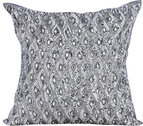 Decorative Pillow Covers 24×24 inch (60×60 cm) Silver, Silk Throw Pillow Covers, Handmade Pillow Covers, Geometric…