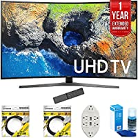 Samsung 54.6 Curved 4K Ultra HD Smart LED TV 2017 Model (UN55MU7500) with 2x 6ft High Speed HDMI Cable, Transformer Tap USB w/ 6-Outlet, Screen Cleaner for LED TVs & 1 Year Extended Warranty