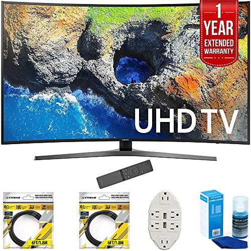 Samsung 65 Curved 4K Ultra HD Smart LED TV 2017 Model (UN65MU7500FXZA) with 2x 6ft High Speed HDMI Cable, Transformer Tap USB w/ 6-Outlet, Screen Cleaner for LED TVs & 1 Year Extended Warranty