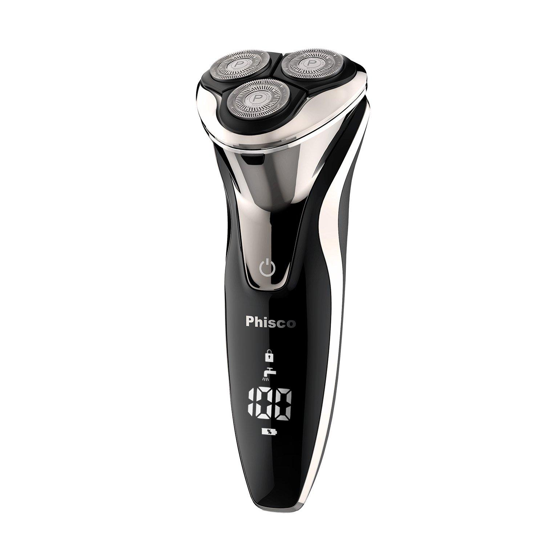 Phisco Máquina de Afeitar Eléctrica Rotativa Para Hombre de Uso seco & Humedo , Desmontable para una facil limpieza, sistema IPX7 Impermeable , Recargable y Sin cable AHGRD006283