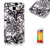For Samsung Galaxy A310/A3 2016 Case [with Free Screen Protector],Funyye Soft TPU Gel Case Cute Simple [Colorful Painting Pattern] Ultra Slim Flexible Protective Skin Back Cover for Samsung Galaxy A310/A3 2016 - Black Flower