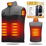 LECDDL 加熱ベスト ヒートジャケット 加熱服 USB充電式電熱ベスト ダブルスイッチ 前後独立温度設定可能 3段階温度調整 保温 防寒 超軽量 臭くない 水洗い可能 6つのサイズから選べます(S-3XL) アウトドア防寒対策 血液循環の促進