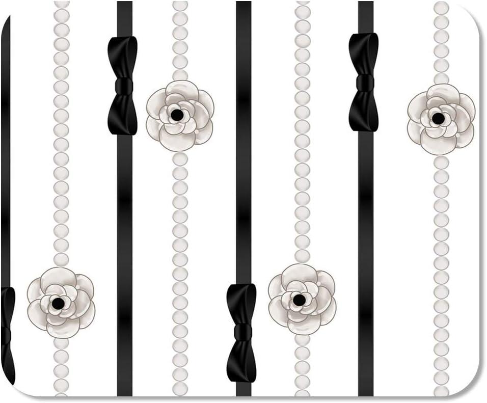 Mousepad Computadora Bloc de Notas Oficina Chanel de Perlas Collares y Cinta Negra Disposición de Alta Costura Elegancia Elegante Hogar Escuela Juego Jugador Computadora Trabajador Pulgada