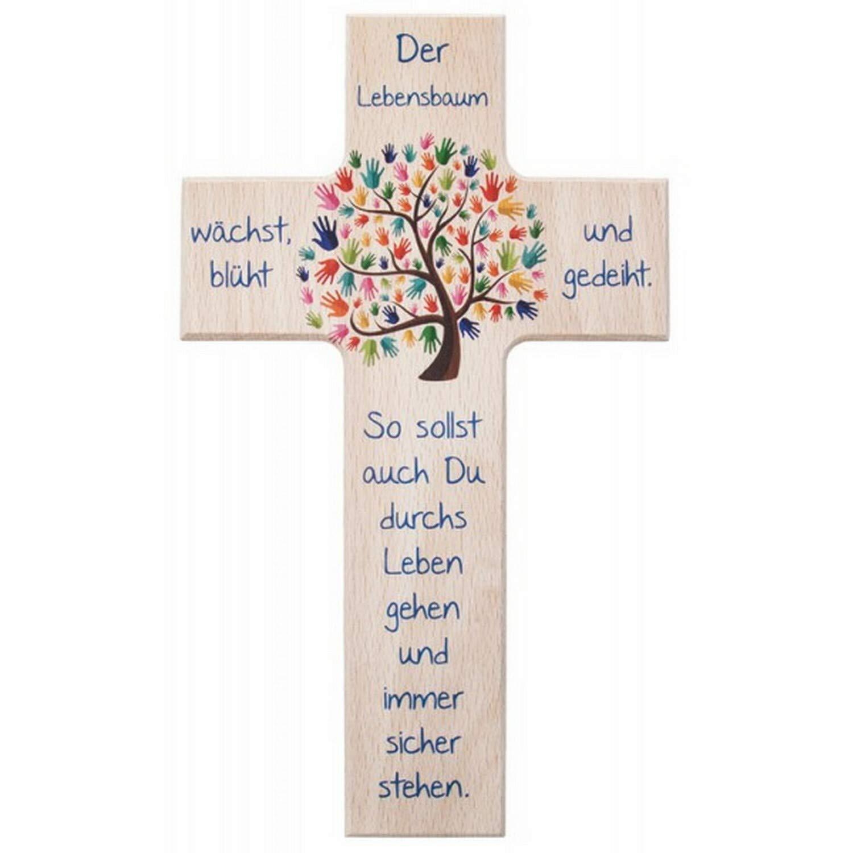 """oder 15 x 9 x 1,3 cm Größe 20 x 12 x 1,4 cm Holzkreuz /""""Lebensbaum/"""" mit Spruch"""