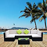 AECOJOY 7 Piece Outdoor Patio PE Rattan Wicker Sofa Cushioned Sectional Furniture Set With Pillows (7 Pieces, Black)