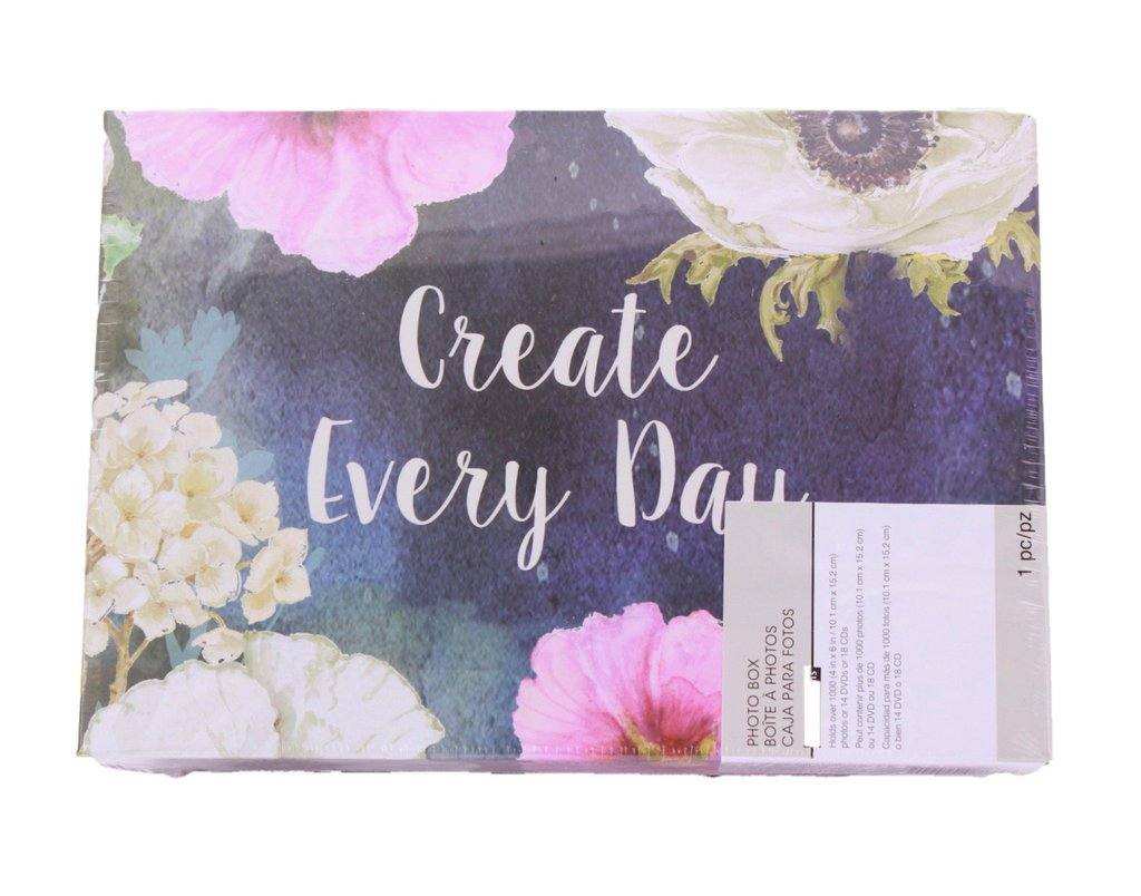 Recollections Create Every Day Post Cards Photo Album Memory Storage Box -4 3/8 x 7 7/8 x 11 3/8 by Recollections