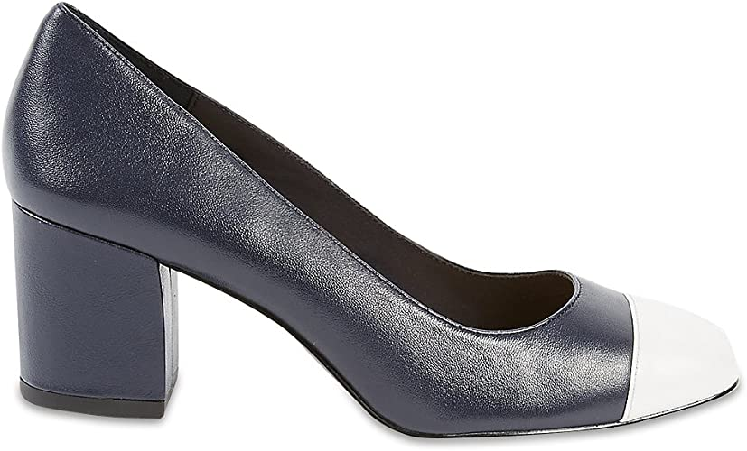 Fit Leather Block Heel Court Shoes RRP