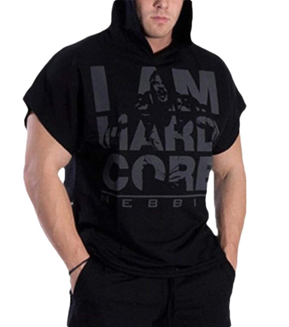 CBTLVSN Men Hoodie Short Sleeve Active Sportwear Workout Gym Training T-Shirt