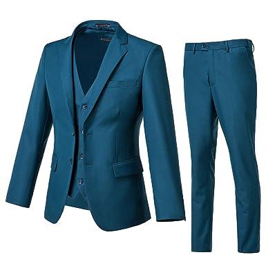 f3e28e8f664 Yanlu Mens 3 Piece Suits Notch Lapel Wedding Groom Tuxedos Jacket Vest Pants