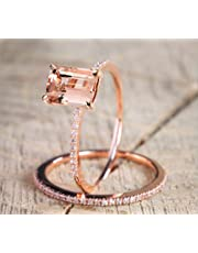 2Pcs Yellow Shinning Cubic Zirconia Topaz Rings for Women Rose Gold Plated Anniversary Cocktail Arrow Wedding Bands Collection Jewelry Rings Set Size 6-10, Gold, 6#