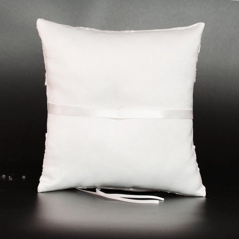 LAPUDA Both sides lace wedding ring pillow 7.8 inch