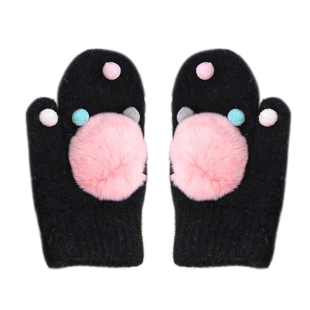 Baby Autumn Winter Cute Cartoon Pom Pom Balls Thicken Warm Gloves Accessories