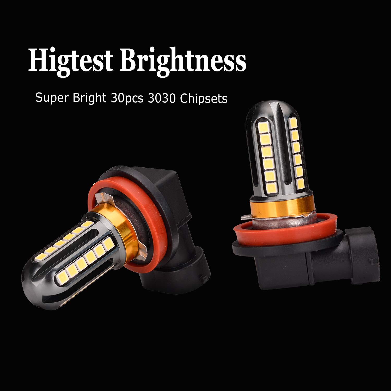 LED Fog Light Bulbs 6000K Xenon White Pack of 2 H11 H8 H16 Trucks JP Super Bright 5000 Lumens 30-SMD Chips LED Daytime Running Lights DRL Bulbs Replacement for Cars
