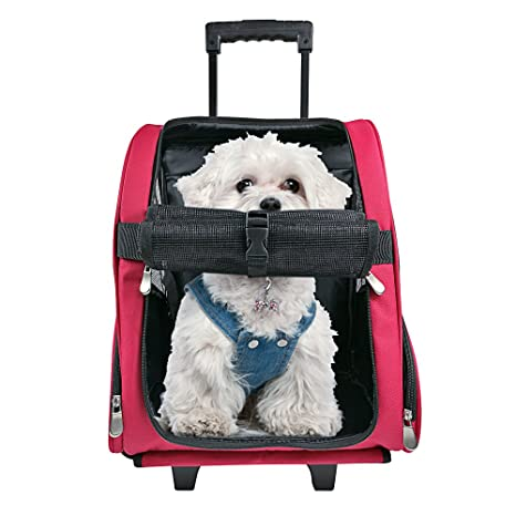 778eae56e28f HARBO Pet Travel Carrier Rolling Backpack for Dogs Cats Small Animals Airline  Travel Tote (Red
