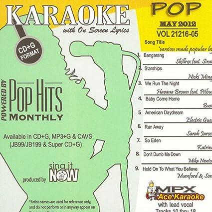 Amazon com: Pop Hits Monthly Pop - May 2012 Karaoke CDG