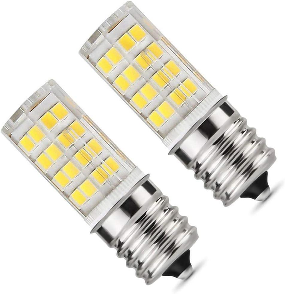 E17 LED Bulb, Microwave Oven Light 5 Watt Daylight White 6000K dimmable 52x2835SMD AC110-130V (Pack of 2) (Daylight White 6000K) - -