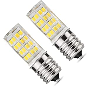 E17 LED Bulb, Microwave Oven Light 5 Watt Daylight White 6000K dimmable 52x2835SMD AC110-130V (Pack of 2) (Daylight White 6000K)