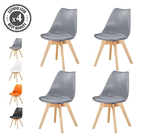 MCC Retro Esszimmerstühle gepolstert, Design Stuhl, Küche, Lounge, 4er Set EVA (Grau)