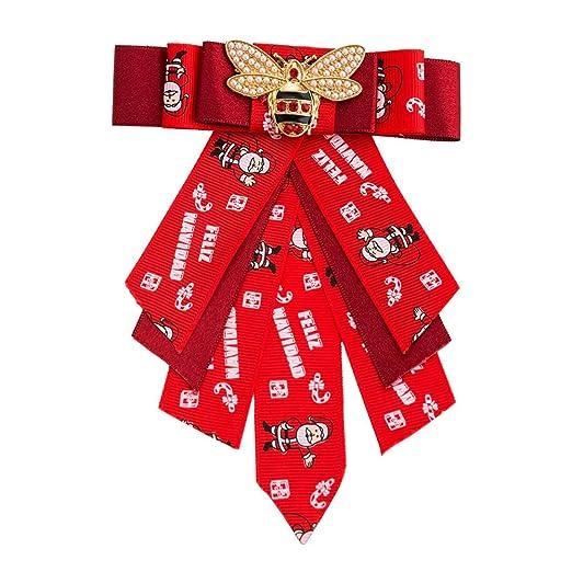 Broche Bowknot de la Mujer Corbata Broche Rojo Elegante Perla ...