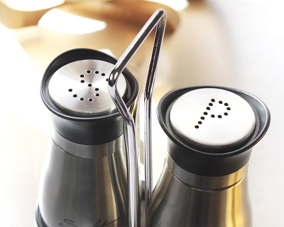 Salt and Pepper Shakers Set - High Grade Stainless Steel with Glass Bottom and 4' Stand - 4'' x 6'' x 2'', 4 oz. by Juvale (Image #2)