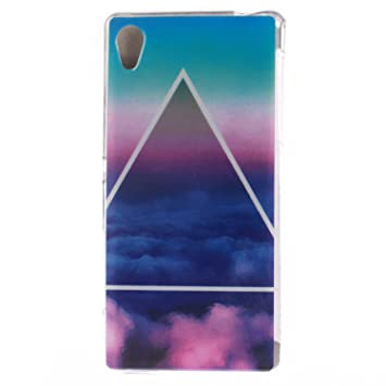Guran® Silicona Funda Carcasa para Sony Xperia M4 Aqua Smartphone Case Bumper Shock TPU Cover-Nube de triángulo