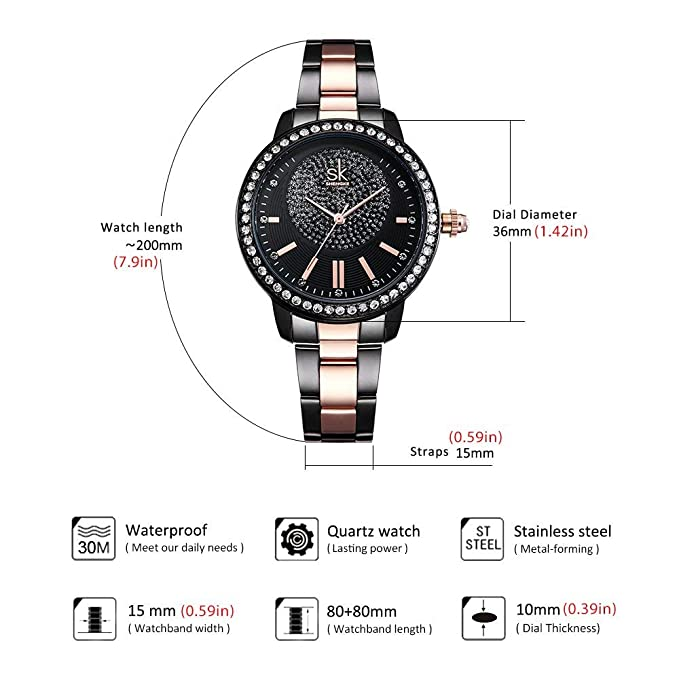 Amazon.com: Women Diamond Analog Wrist Watch Girls Crystal ...