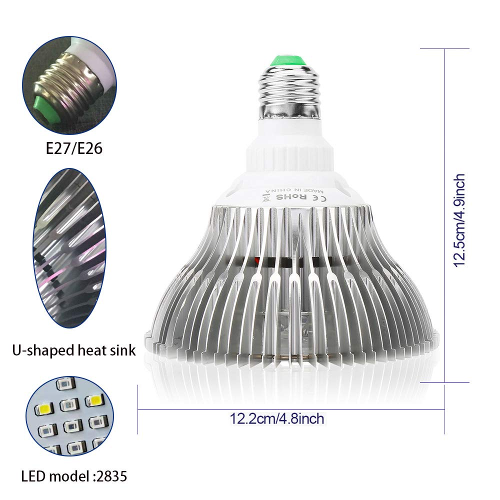 100W Grow Light Bulb h LED Plant Light with Aluminum Cover E26 E27 Base AC85-265V for Indoor,Greenhouse,Tropical,hydroponic Plants Growing Full Spectrum LED Grow Light