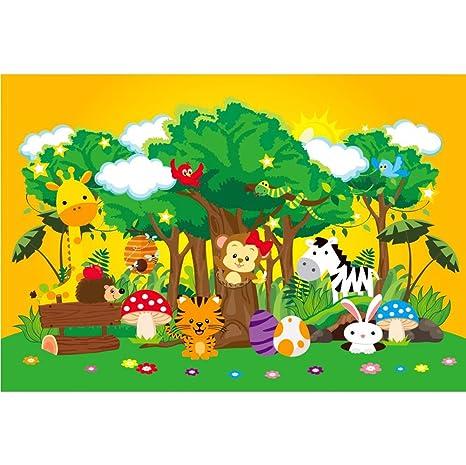 Cassisy 2,2x1,5m Vinilo Cumpleaños Telon de Fondo Animales del Bosque Campos de Hierba Verde Cielo Soleado Flores Huevos Fondos para Fotografia Party ...