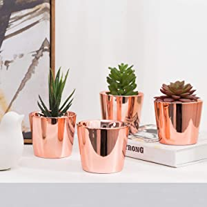MyGift 3.5 Inch Small Cylindrical Rose Gold Ceramic Flower Planter Pots, Set of 4