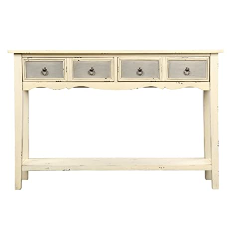 Prime Mw Rustic Wood Console Table With 2 Drawers Sofa Table For Entryway Hallway And Living Room Cream White Finish Squirreltailoven Fun Painted Chair Ideas Images Squirreltailovenorg