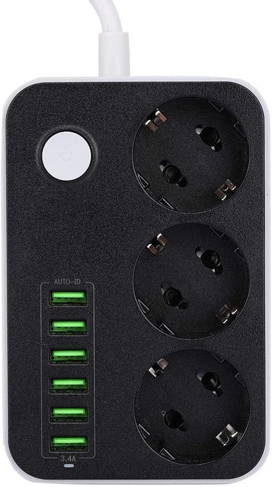 Cafopgrill 250 V Multifunktions-EU-Stecker Steckdosenleiste 3 Steckdosen 6 USB-Anschl/üsse 3.4A Steckdose Stromversorgung