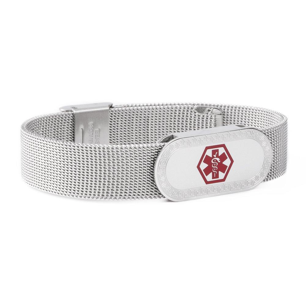 Tarring Milanese Loop Stainless Steel Medical alert id bracelet-Free engraving