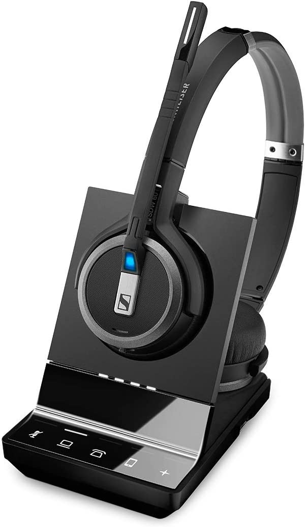 Sennheiser SDW 5065 (507000) - Double-Sided (Binaural) Wireless Dect Headset for Desk Phone Softphone/PC Connections Dual Microphone Ultra Noise Cancelling, Black