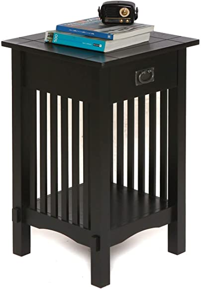 Cheap Legacy Decor Mission Style Telephone Stand/End Table Black Finish w/Drawer living room table for sale