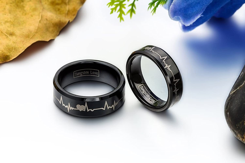 Partnerringe schwarz wolfram  JewelryWe Schmuck 1 Paar Wolfram Wolframcarbid Herzen & Herzschlag ...